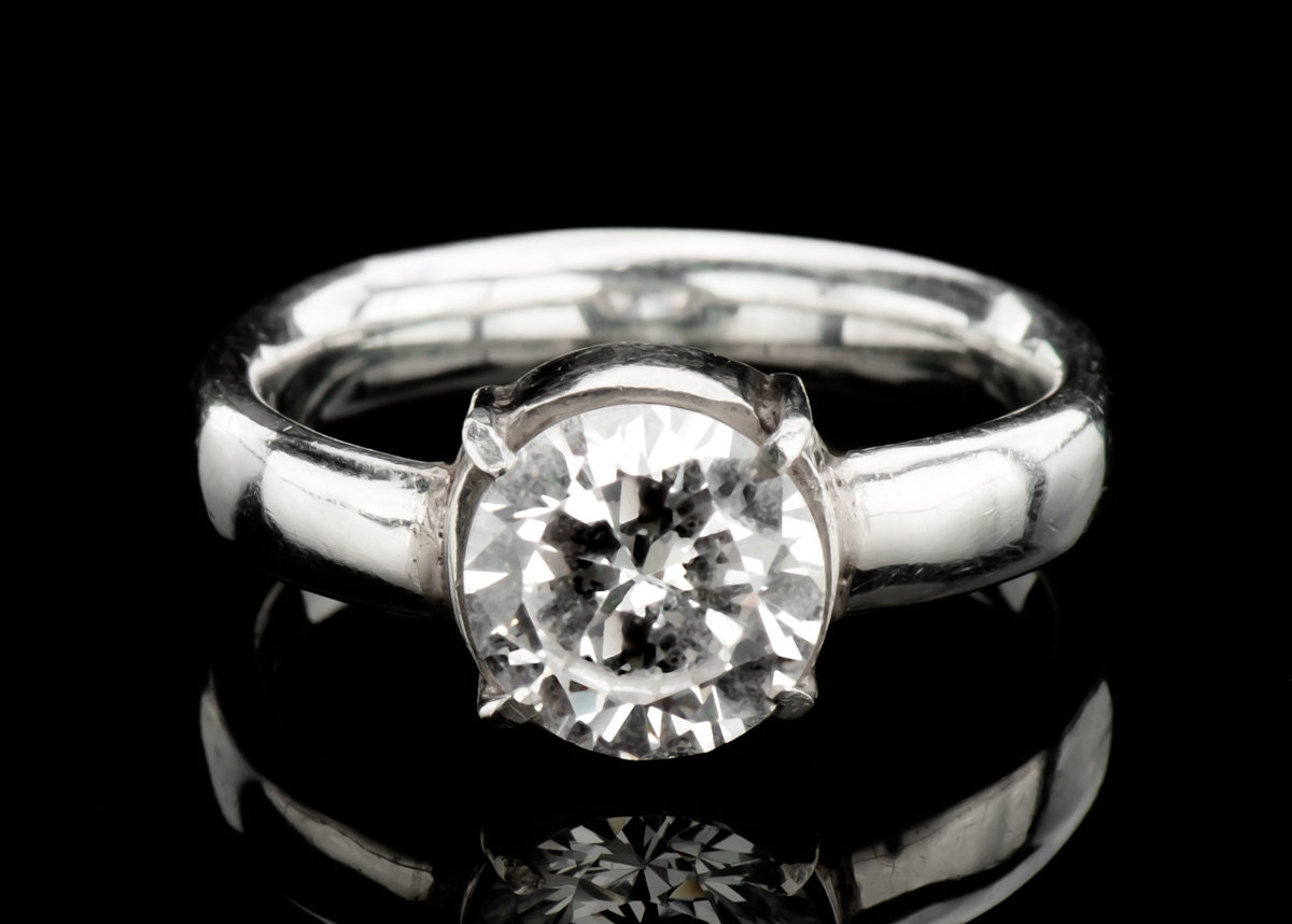 Solitaire Engagement Ring White Zircon Ring In Solid Sterling