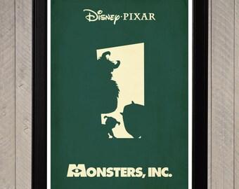 Monsters Inc. Disney Pixar Minimalist Poster, Movie Poster, Art Print
