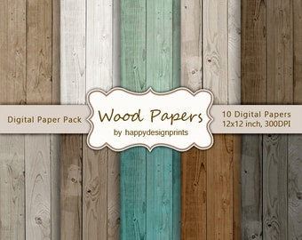 """Wood Textured Old  Board Digital Paper Pack of 10, 300 dpi, 12""""x12"""" Instant Download Pattern Paper Scrapbooking, Invites, Cards JPG"""