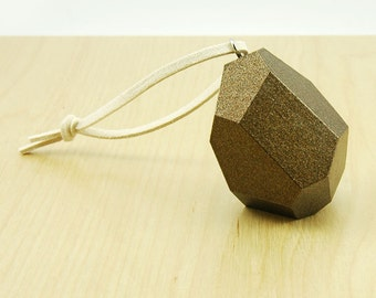 Faceted Wood Ornament   Antique Brass