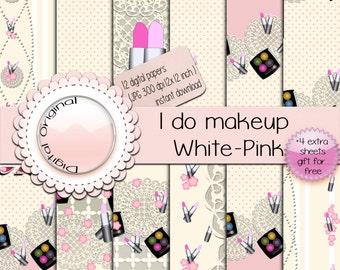Digital paper - I do makeup White-pink - 12 digital sheets - 300 ppi -instant download.