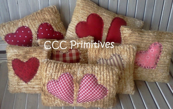 Valentine Chenille Heart Pillow Bowl Filler Tucks - Valentine Bowl Filler - Primitive Heart Pillows - Chenille Heart Bowl Filler