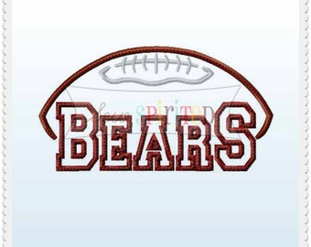 Bears Football Applique Embroidery Design