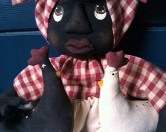 Primitive Folk Art Black Doll and Chickens