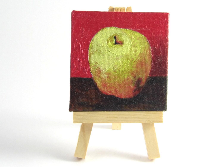 Kitchen Decor Green Apple Original Oil By Desertvalleystudio