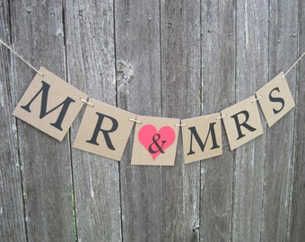 Mr and Mrs banner, mr and mrs sign, bridal shower banner, wedding shower banner,bride & groom sign,rustic wedding bridal shower,mr. and mrs.