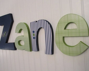 Hanging nursery letters, navy blue & green nursery letters, baby boy nursery letters, nursery decor, nursery wall letters