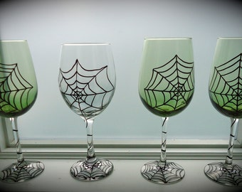 Spider web wine glass