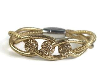 Gold Twist Leather Bracelet, Womens Leather Jewelry, Womens Leather Bracelet, Leather Bangle Bracelet, Leather Rhinestone Bracelet, Twist