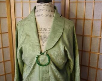 Japanese Silk Kimono Mint Green Coat