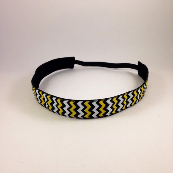 Black & Yellow chevron non-slip headband for everyday and active wear