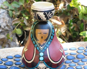 Southwestern Hand-painted Gourd #707 Woman Figurine