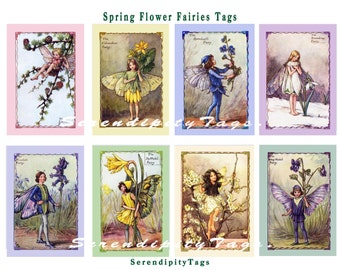 Spring Flower Fairies Tags