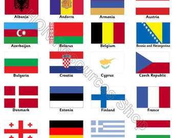 Flags of Europe 52 Printable Flash Cards