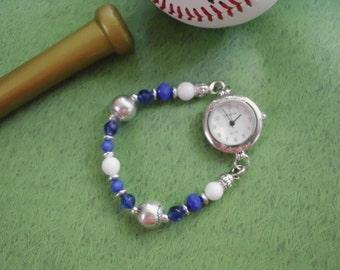 BASEBALL TEAM / School Spirit Blue & White Beaded Interchangeable WATCH Bracelet  (#50013)