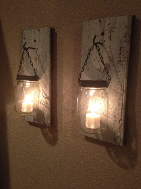 Diy Wall Sconces For Candles : Rustic barn wood mason jar candle holder