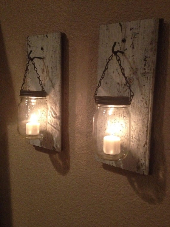 Candle Wall Sconces Rustic : Rustic barn wood mason jar candle holder