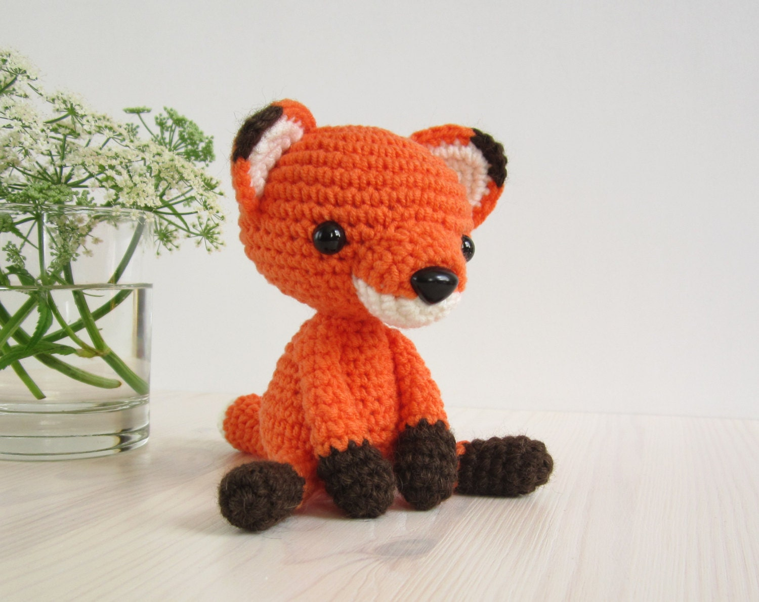 Micro Amigurumi Animal Patterns : PATTERN: Small sitting fox Stuffed animal Tiny by KristiTullus