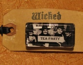Witches Tea Party pin - 1 x 2 inch glass pin on Wicked grungy tag - Ready to Ship