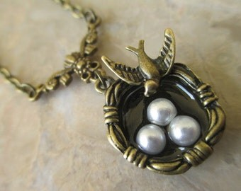 Romantic Vintage Bronze Birds Nest with Faux Pearls Handmade Pendant Necklace on Bronze Chain Necklace