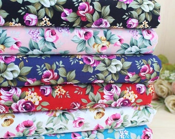140cm / 55 inch Width, Flower Floral Rose Pattern Thin Cotton Fabric, Six Colors Available, Half Yard