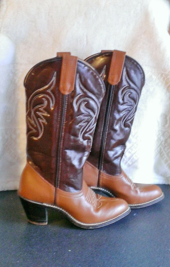 brown leather s cowboy boots size 5 by ifbootscouldtalk