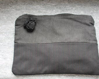 Grey and black clutch bag with fabric roses