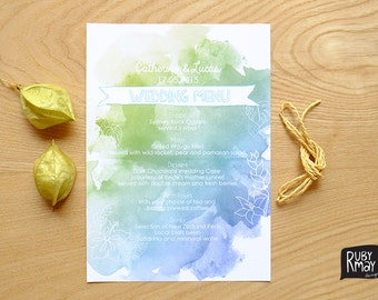 Tropical Wedding Menu Card - digital file - beach wedding menu, destination wedding reception menu, watercolour menu, turquoise menu