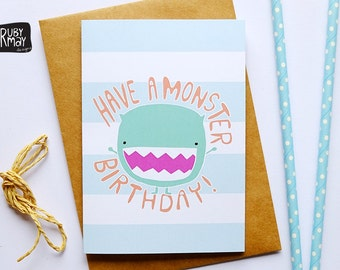Monster Birthday card - kids birthday card, monster birthday party, illustrated card, quote card - A6 greeting card, matte stock