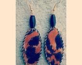 leopard print unique handmade oval shaped beaded dangler earrings