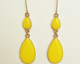 Canary Yellow Earrings, Yellow Teardrop Earrings, Resin Yellow Earrings, Hypoallergenic, Bridemaid, For Her