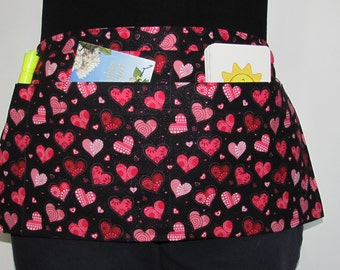 Waist Apron for Teachers, Vendors, Servers, Crafters, Gardeners with Pink Hearts on Black Fabric (3 Pockets)