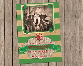 Vintage Christmas Photo Card with Green Stripes with Burlap - printable 5x7