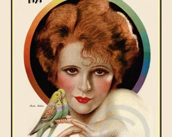 Art Deco Classic Icon, Clara Bow Print, Holding Birds, Silent Screen, Hollywood Glamour Portrait Giclee Fine Art Print by Sheldon 11x14 1929