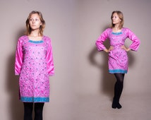 SALE Vintage indian tunic / Eastern tunic / Embroiderd tunic / Pink tunic / size small to medium
