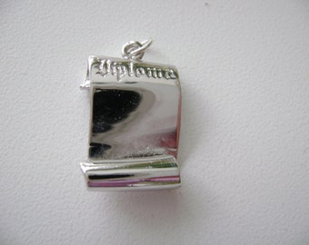 Sterling Silver Graduation scroll diploma charm