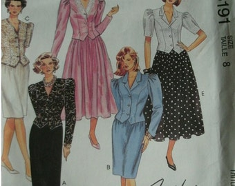 Misses Two Piece Dresses in Three Lengths Size 8 Easy McCalls Pattern 5191 Fashion Basics, Petite-Able Easy to Sew UNCUT Pattern 1991