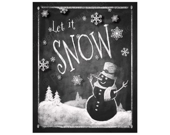 LET IT SNOW Chalkboard Christmas sign - Instant Download - Printable Holiday decoration