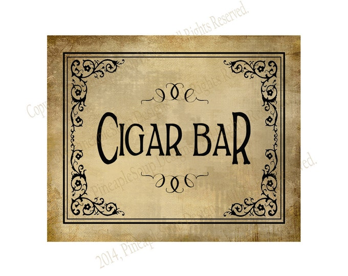 Cigar Bar Printable Wedding or Special Event sign - instant download digital file - Vintage Black Tie Collection - cigar sign