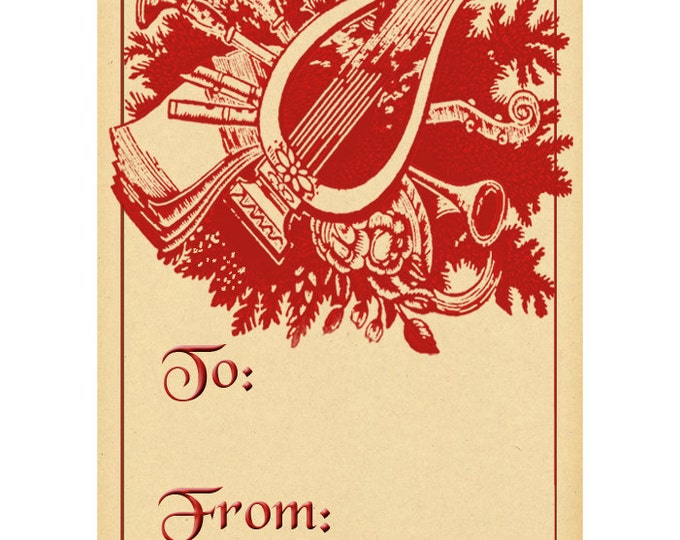 Vintage Harp & Greenery Christmas Gift Tag - in Red - Instant Download - Printable Holiday Gift Tag