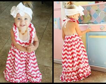 Hot Pink Chevron Maxi Dress // Girls Halter Top Dress // Long Girls Dress // Toddler Maxi