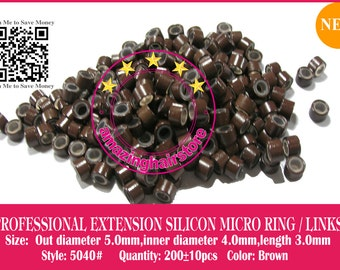 1000pcs 5040 High Quality Silicon Lined Copper Micro Ring/Beads for I-Tip Prebonded Hair Extensions