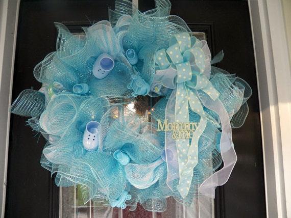 Baby shower decoration welcoming wreath door hanger front for Baby shower door decoration
