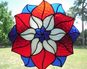 Sale Stained Glass Patriotic Flower Red White and Blue Geometric Suncatcher Fourth Of July July 4th Handmade