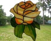 Handmade Stained Glass Rose Flower Suncatcher Orange Rose Summer Gift