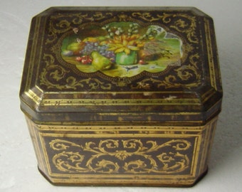 antique German flower printed tin box c. 1900 Kleutgen & Meier Bad Godesberg