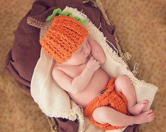 Crochet Pumpkin Hat and Diaper Cover Set Newborn Baby Pumpkin Outfit Pumpkin Hat and Diaper Cover Photo Props