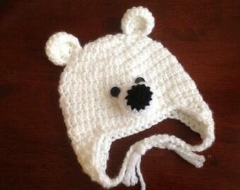 Crochet Polar Bear Hat Baby Polar Bear  Hat Newborn Baby Polar Bear Hat Photo Props