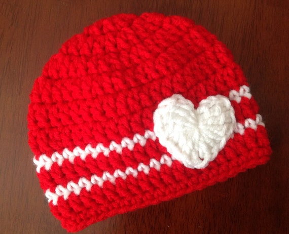 ... or Boy Valentine Hat Red and White Hat baby Valentines Crochet Hat