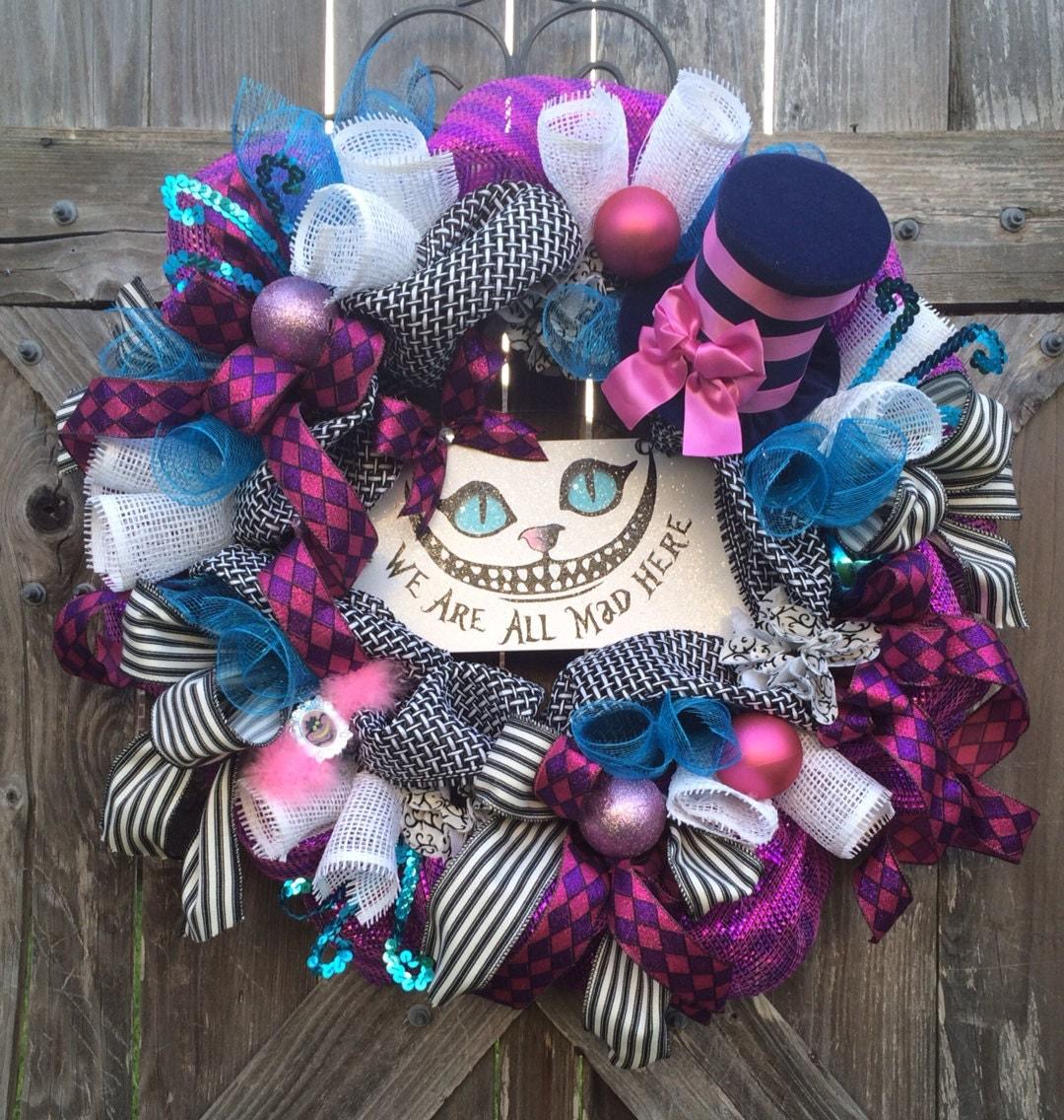 Alice in wonderland decor alice in wonderland wreath disney - Alice in wonderland decorations ...